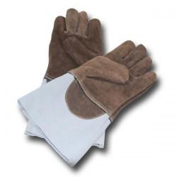 Rękawice żaroodporne z palcami brązowe